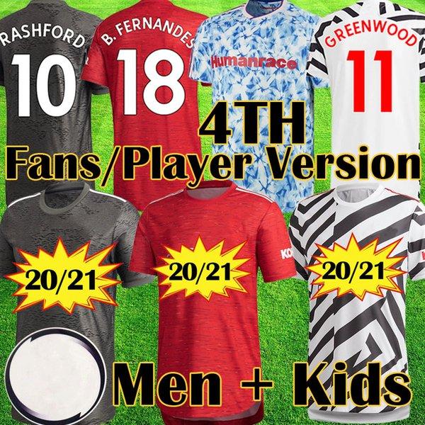 top popular Manchester 2020 2021 HUMAN RACE COLLECTION FERNANDES CAVANI united Soccer Jersey Kids jerseys Man kit Football Shirt 20 21 Utd equipment 2020