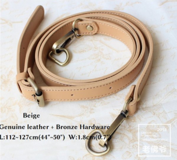 top popular Genuine Leather Bag Strap 1.8*127CM Bag Accessories For Brand Bag Gold And Bronze Hardware Available 2021