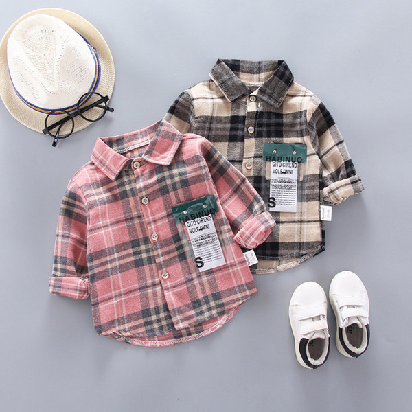 top popular IENENS Kids Shirt Clothes Spring Thin Blouses Clothing Infant Boy Plaid Cotton Tops 1 2 3 4 Years Kids Long Sleeves Shirt C0119 2021