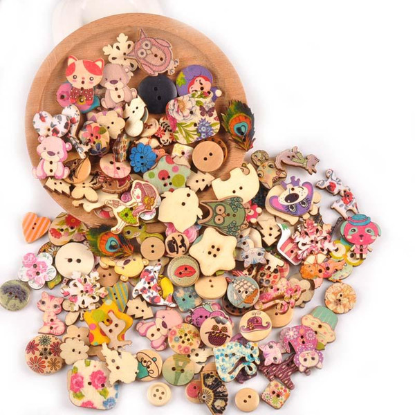 top popular Vintage 100pcs Mixed Painting Wooden Buttons For Crafts Scrapbooking Sewing Clothes Button DIY Kid Apparel Supplies 15-35mm M1893 2021