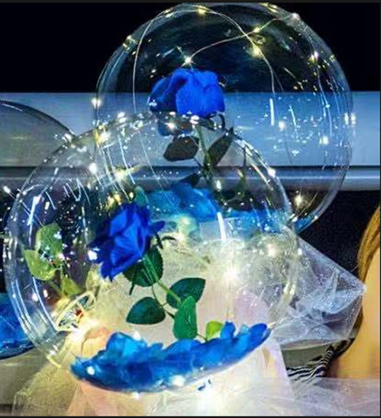 best selling LED Bobo Balloon Luminous Rose Bouquet Light Transparent Bubble Rose Ball Valentines Day Gift Birthday Party Wedding Decor by sea GGA3845