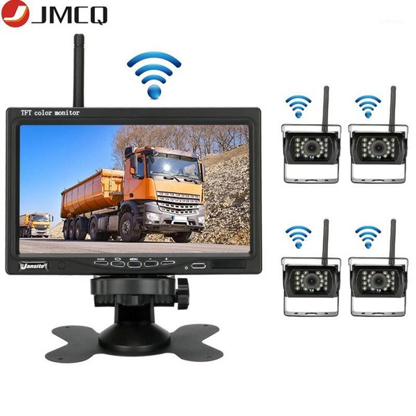 """top popular JMCQ 7 """"Wireless Rearview camera Car Monitor monitors Auto Night Vision Waterproof Rear camera For Truck excavator forklift1 2021"""