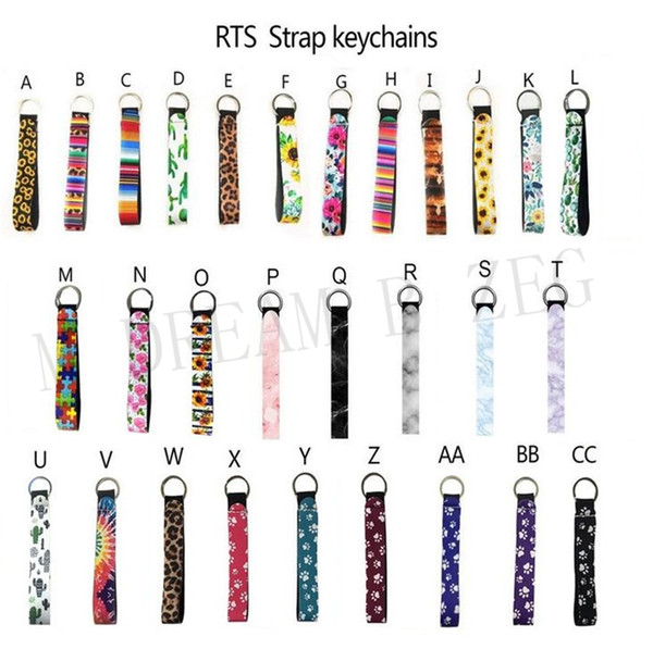 top popular Neoprene wristlet keychain colourful printed wrist key belt sunflower strip leopard lanyard key ring long diving material keychains 2021
