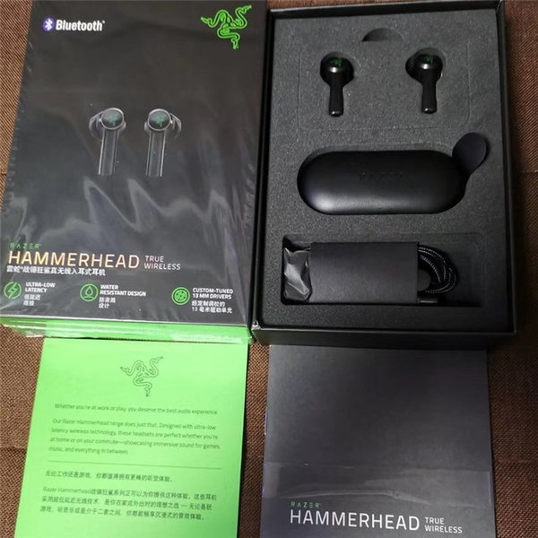 best selling Razer Hammerhead True Wireless Headphones In-Ear Earplugs TWS Bluetooth 5.0 IPX4 Earbuds Built-in Microphone On Off Switch Earphone Headsets