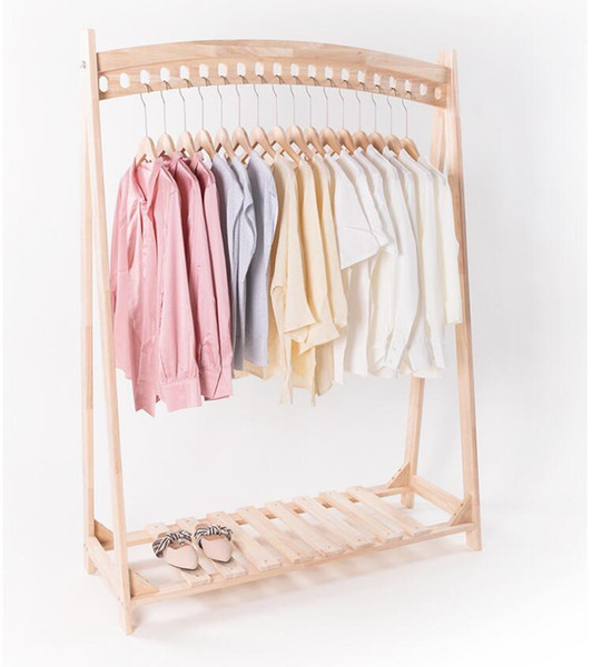 best selling Creative solid wood floor hanger multi hole bedroom clothing store display rack display double hanging central shelf studio