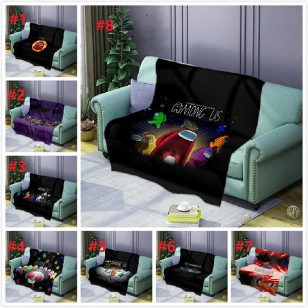 best selling 8 styles Print Blanket Among Us Fleece Blanket Microfibe Carpet Game Figure Cartoon Printed Fleece Wearable Bedspread Bedding by air11