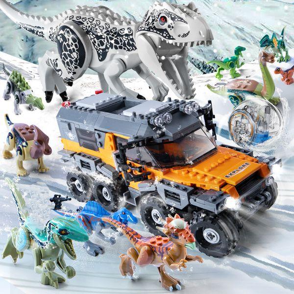 top popular Jurassic Dinosaur World Park Series Mechanical T-rex Indominus Rex Building Blocks Compatible Dino Bricks Toy For Kids Xmas Gift C0119 2021