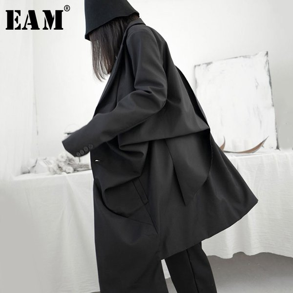 eam] women black pleated stitch big size trench new lapel long sleeve loose fit windbreaker fashion tide spring 2020 1s241 1031, Tan;black