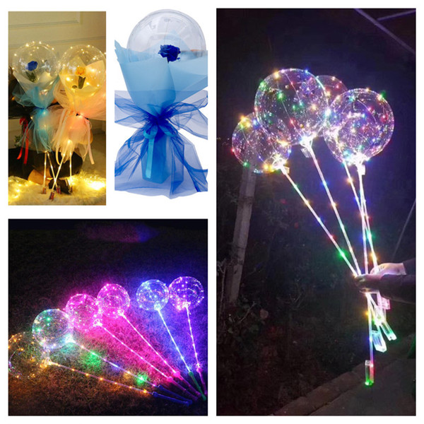 best selling 2021 rose bobo balloons with handle flashing LED night lights bobo ball transparent clear balloons stick for wedding holiday Valentine's Day