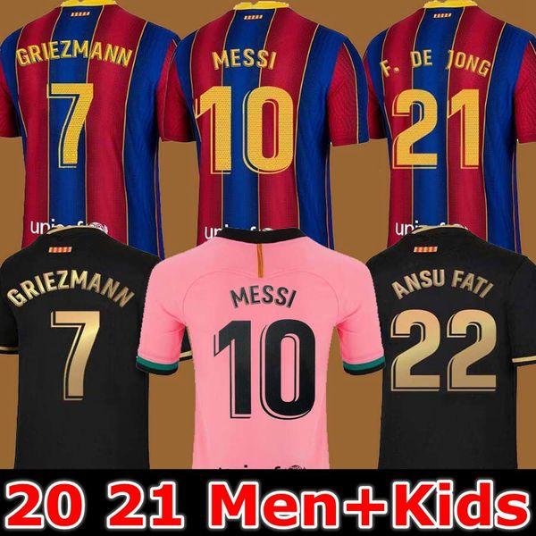 best selling FC BARCELONA soccer jersey 20 21 camiseta de futbol ANSU FATI 2020 2021 Messi GRIEZMANN DE JONG Maillots de football shirt Men + Kids kit