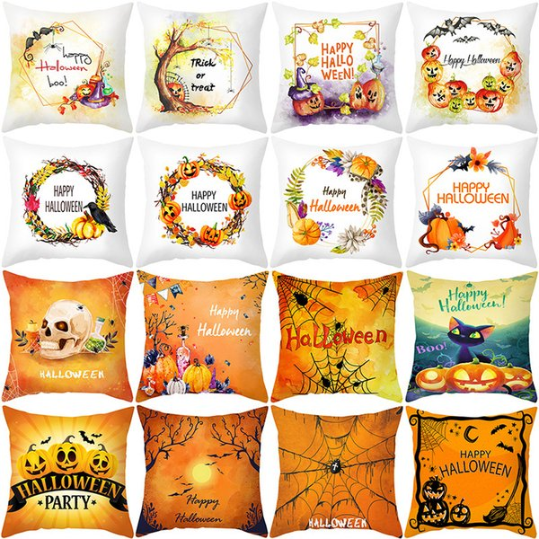 top popular Halloween Cover 2020 Pillow New Watercolor Peach Skin Sofa Cushion Cover Office Pillow Cover 2021