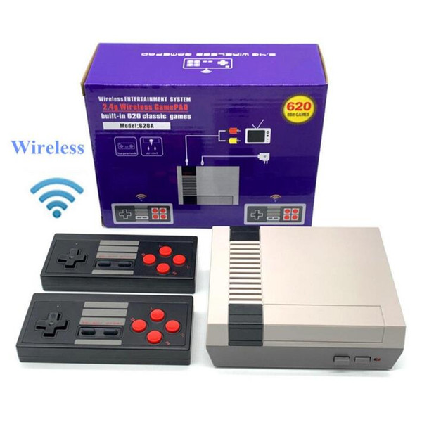 best selling 8 Bit 2.4G Wireless Video Game Console Retro TV Console Box AV Output Dual Player Controller Built in 620 for Classic NES Games