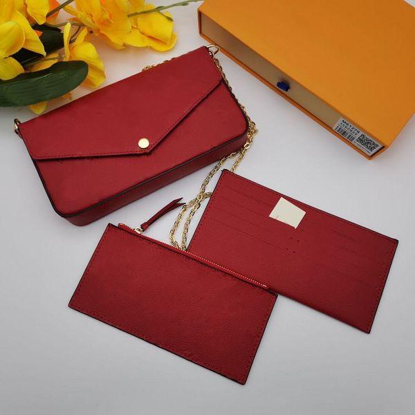 best selling Hot sale Pochette ladies patent leather messenger bag 3 piece set wallet messenger bag handbag presbyopia designer shoulder bag lady belt
