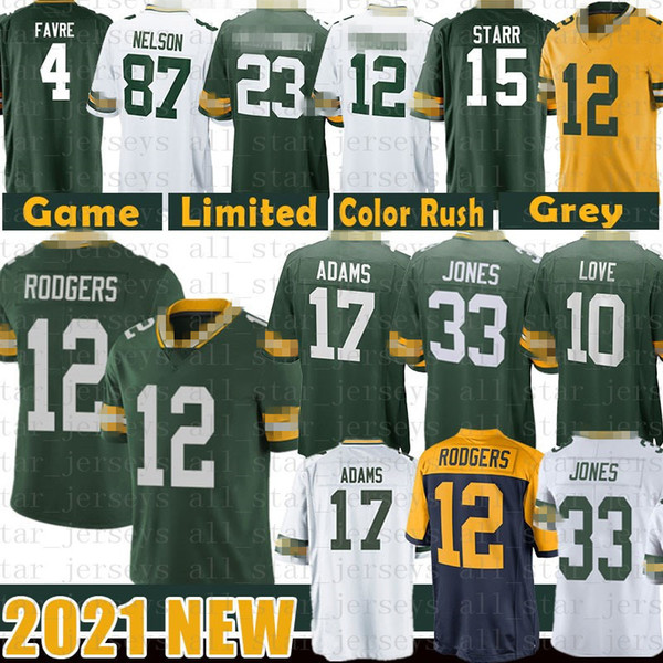 best selling 12 Aaron Rodgers 33 Jones Davante Adams Football Jersey 10 Love Darnell Savage Jr Clay Matthews Kevin King Bart Starr Jaire Alexander Favre