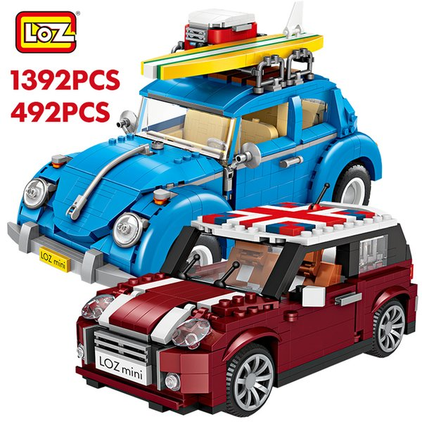 best selling LOZ Technic Mini Building Blocks Vehicle Assemable Educational Toys for Children Beetle Creatored Police Truck Car Bricks Toys 1008