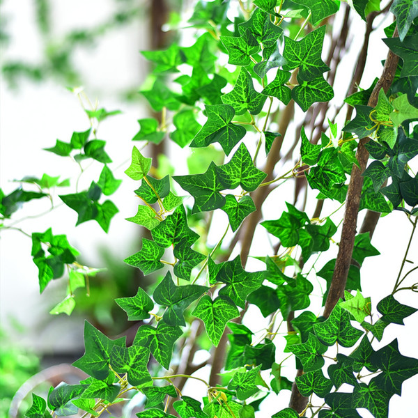 top popular New Artificial Silk Simulation Climbing Vines Green Leaf Ivy Rattan for Home Decor Bar Restaurant Decoration 2021