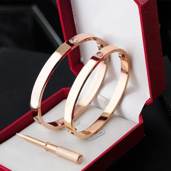 top popular Classics Fashion jewelry Rose gold 316L stainless steel 18K Gold Plated bangle Charm bracelet women's and mens bracelet loves with boxes 2021
