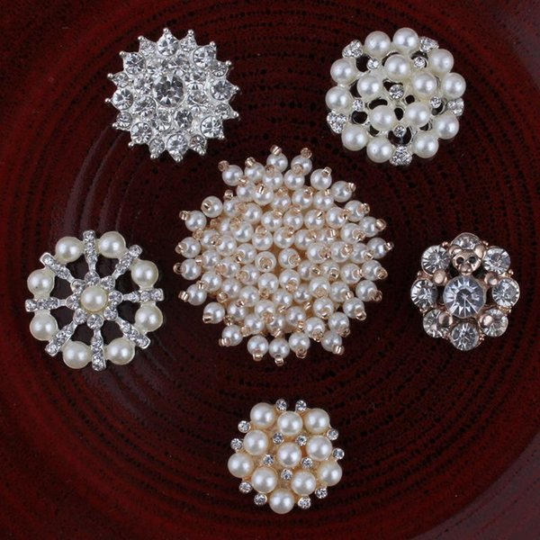best selling 120PCS Handmade Vintage Metal Decorative Buttons Crystal Pearl Flower Center Alloy Flatback Rhinestone Buttons Craft Supplies