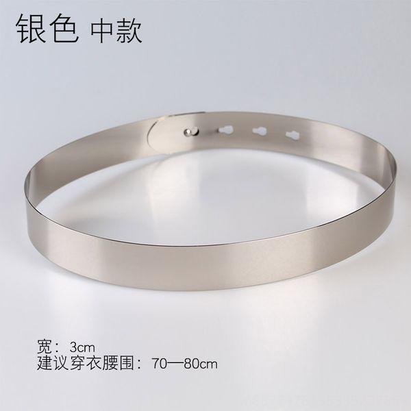 Ancho: 3 cm de plata Medio