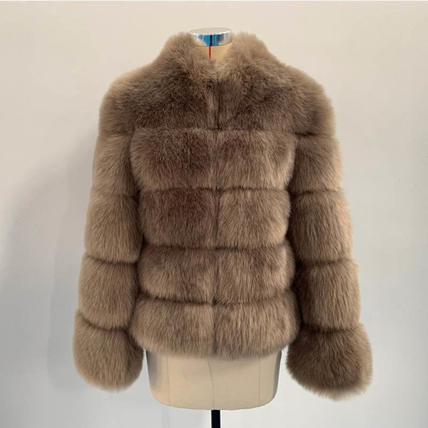 Khaki Fox Fur Coat