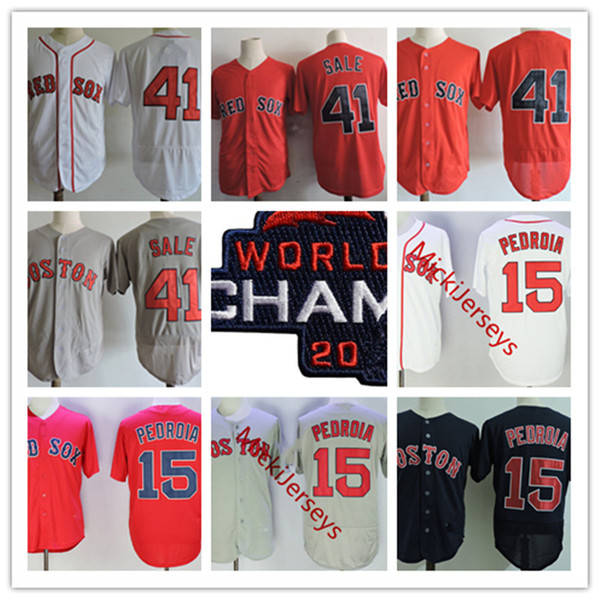 top popular Mens white Red #15 Dustin Pedroia 2018 Champ Jersey stitched #41 Chris Sale Strong Patch baseball Jersey S-3XL 2021