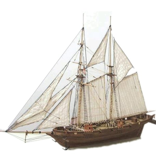 best selling 1:100 Scale HALCON DIY Sailboat Model Kit Wooden 3D Designer Constructor for Adults Handmade Puzzle Sailing Boats Children Toys Y200428