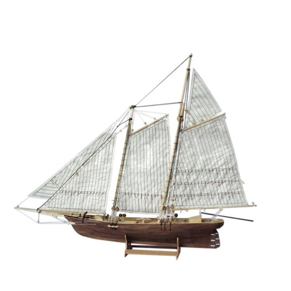 top popular HobbyLane 1:120 DIY Boat Wooden Assembly Sailing Ship Model Classic Sailing Boat Laser Cutting Process Puzzle Toys DIY Wooden Y200428 2021