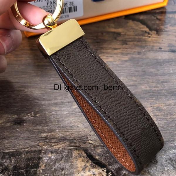 best selling Classic Brown PU Leather Keychains Key Chain Key Ring Holder Keychain for Men Women with Gift Box
