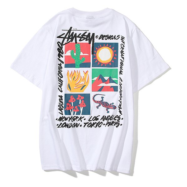 top popular stussy T Shirts Mens Brand Black White Red Mens Fashion Stylist T Shirts Top womens T Shirts Stylist printing NEW Short Sleeve M-XXL 2020