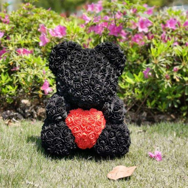 40cm Black Red Heart
