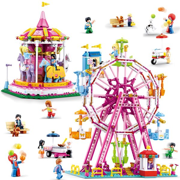 best selling Colorful Ferris Wheel Carousel Girl Princess Street View Playground Puzzle Assembly Building Block Toy Gift Girl Play House
