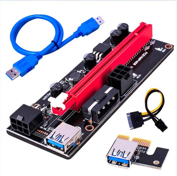 top popular Black Pcie Riser Ver 009s Card PCI E 1X 4x 8x 16x Extender USB 3.0 Cable SATA to 6Pin Molex Adapter For BTC Mining 2021