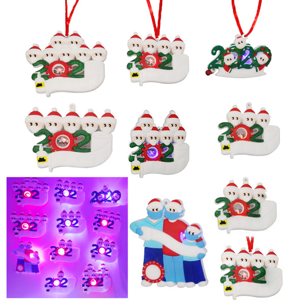 best selling 2020 Christmas Quarantine Ornaments Led Snowman DIY Family Greeting Pendant Personalized Led Light Christmas Festive Party Tree Decoration