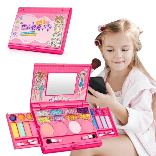 top popular DIY Princess Girls Cosmetics Play Set Palette Vanity With Mirror Washable And Non Toxic Makeup Kit For Kids Gift Role Playing 2021