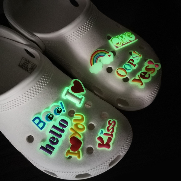 best selling 100pcs custom soft pvc Luminous sweet accessories glow shoe charms jibitz for clog glowing up