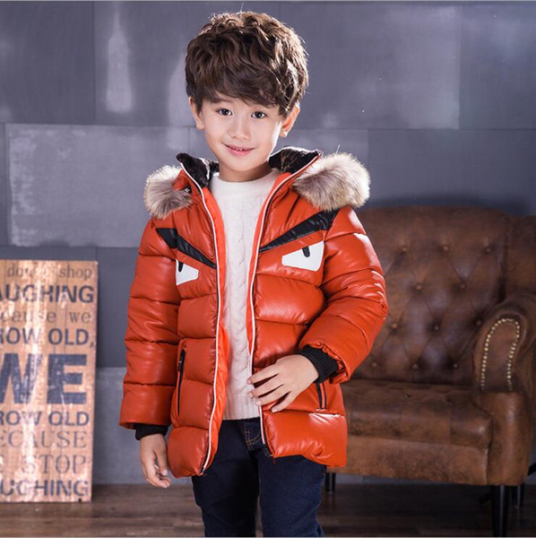 top popular kids Winter down coat boys coats fur hooded coat jacket for 2-12yrs child toddler boys girls thick down coat jacket 2021