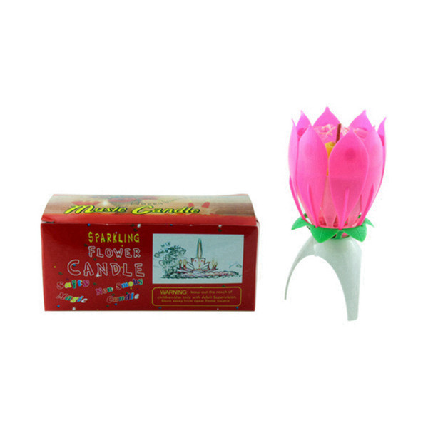 top popular Lotus Music Candle Lotus Singing Birthday Party Cake Music Flash Candle Flower Music Candle Cake Accessories Holiday Supplies RRA3758 2021