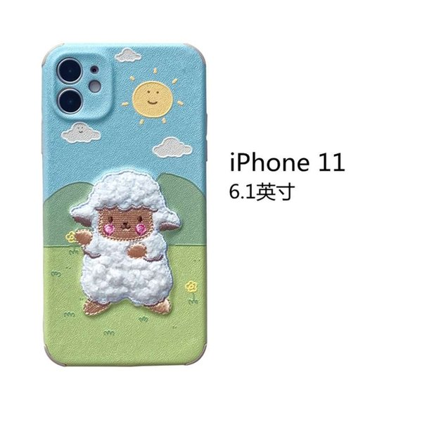 Iphone 11 Embroidery Grassland Sheep