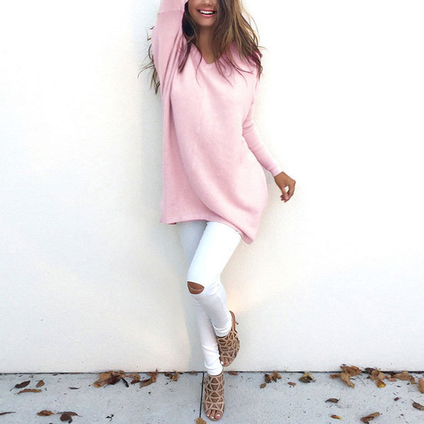 best selling Autumn Winter Europe and the United States Fashion V-neck Long-sleeved Women's 2019 Sweater Knitted Long Top Sweaters
