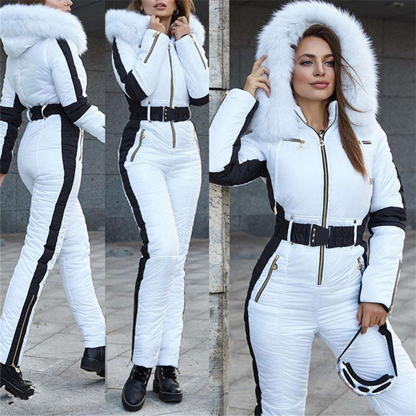 best selling Winter Womens Jumpsuits Hooded Warm Sports Skiing for Women Fashion Solid Color Skateboard Suits with Sashes
