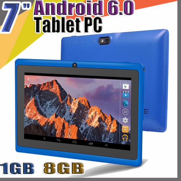 "top popular 848 Allwinner A33 Quad Core Q88 Tablet PC Dual Camera 7"" 7 inch capacitive screen Android 6.0 1GB 8GB Wifi Google play store flash C-7PB 2021"