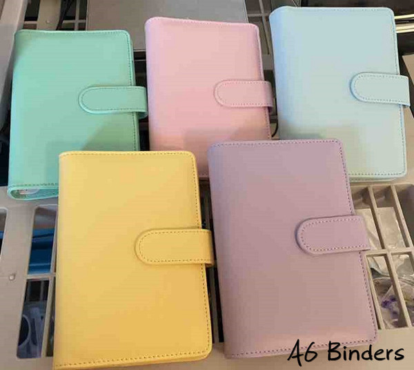 top popular SEA 5 Colors A6 Empty Notebook Binder notepad 19*13cm Loose Leaf Notebooks without Paper PU Faux Leather Cover File Folder Spiral Planners Scrapbook 2021