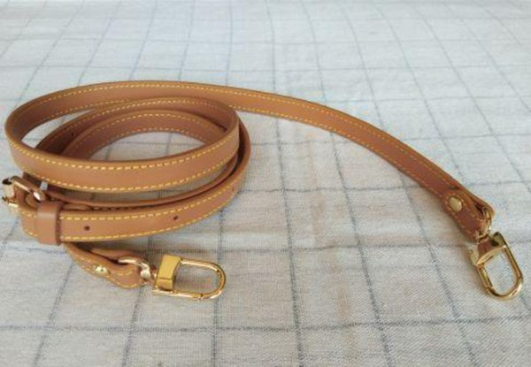 top popular Genuine Leather 1.4 1.8cm Crossbody Strap Replacement Adjustable Bag Accessories Gold Hardware Real Leather brown color 2021