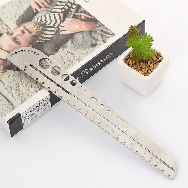 top popular Large Multifunctional Stainless Steel Scale Ruler Office Compass Protractor Hexagon Edc Outdoor Tool 2021