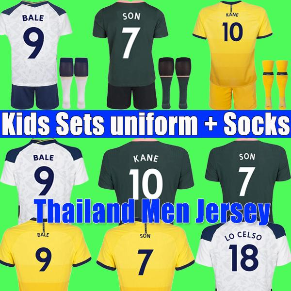 top popular 20 21 KANE SON BERGWIJN Soccer Jerseys 2020 2021 LUCAS DELE Tottenham Football kit shirt jersey BALE NDOMBELE tops Men kids sets boy socks 2021
