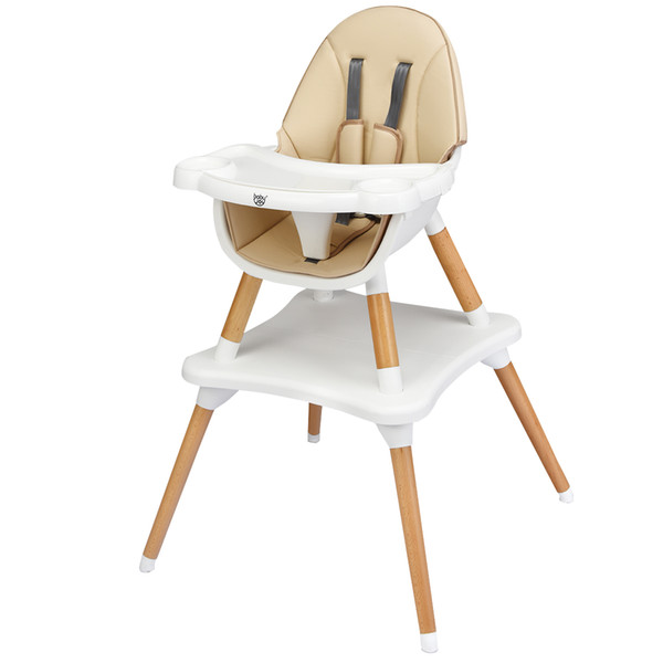 top popular 4-in-1 Baby High Chair Infant Wooden Convertible w 5-Point Seat Belt Khaki LJ201110 2021