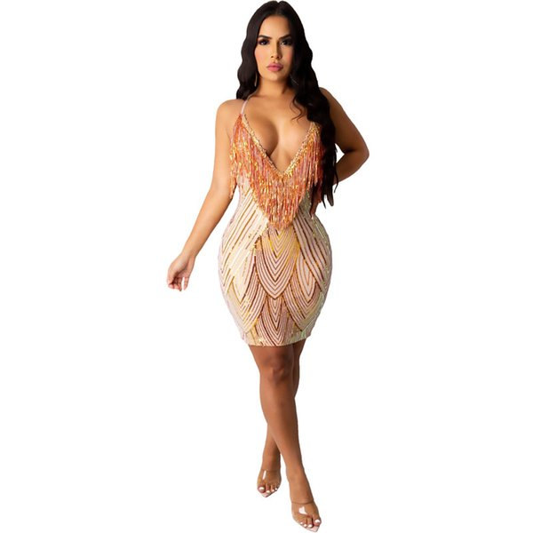 top popular Sequin sling tassel A line dress nightclub high end sexy women's wear clothing party high quality dresses 2021