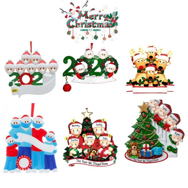 best selling 2020 DHL 6 Style Christmas Ornament DIY Greeting 2020 Survivor Family Quarantine Xmas Party Pandemic Social Distancing New Year Tree Pendant