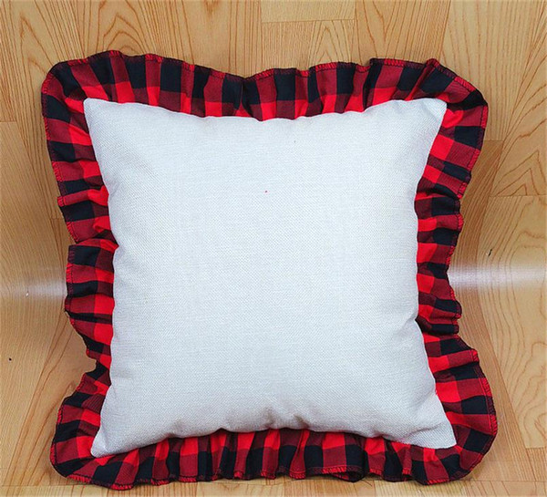 top popular 45*45cm Blank Sublimation Plaid Pillow Case DIY 18Inch Thermal Transfer Linen Lace Throw Pillow Case Cushion Cover Home Decors D102902 2021