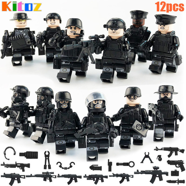 top popular 12pcs SWAT Mini Toy Action Figure Special Forces Police Policeman Military Set with Weapons Building Blocks Bricks Toy for boy kids 2021